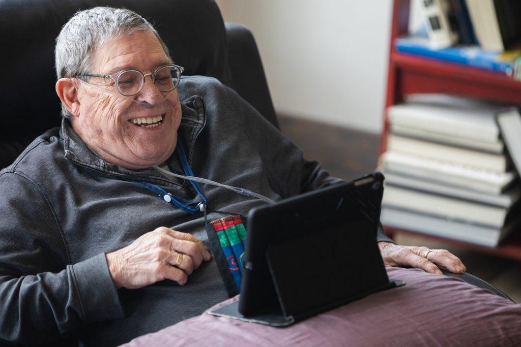 Senior Man on oxygen Happy